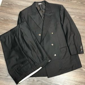 Brioni Brown Pinstripe Double Breasted Suit 46R